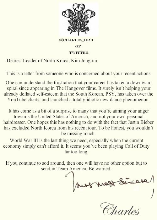 prince_charles_letters Kim Jong un